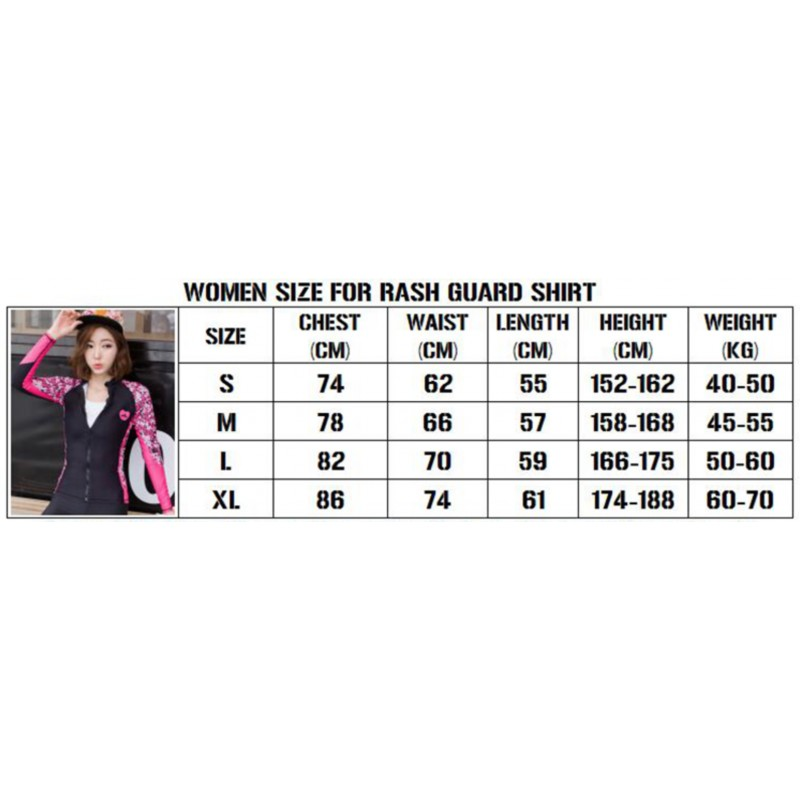 SBART Rashguard Top Jacket Full Zip Women Pink HD-SB31